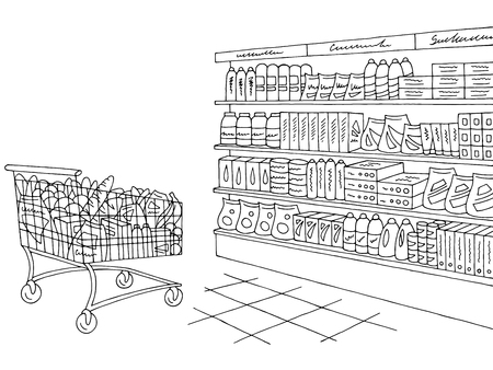 Grocery store shop interior black white graphic sketch illustration vector