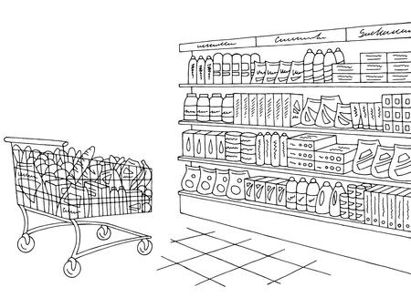 Sklep spożywczy sklep wnętrze czarno biały graficzny szkic wektor