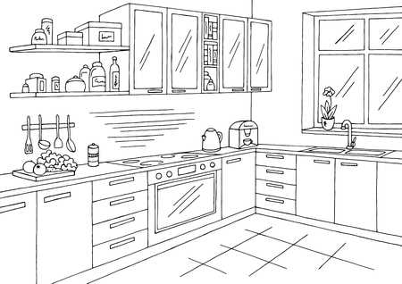 Kitchen room graphic black white interior sketch illustration vector. Stock Illustratie
