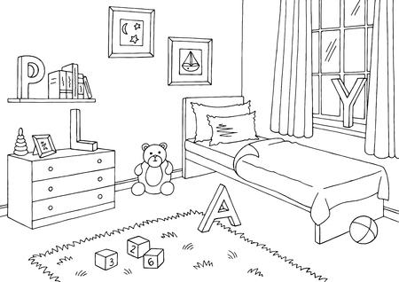 子供部屋グラフィック黒白インテリアスケッチイラストベクトル  イラスト・ベクター素材