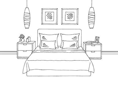 Bedroom graphic black white interior sketch illustration vector Illustration