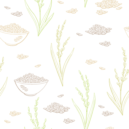 Rice plant graphic color seamless pattern sketch illustration vector