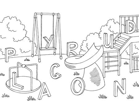Playground outline illustration