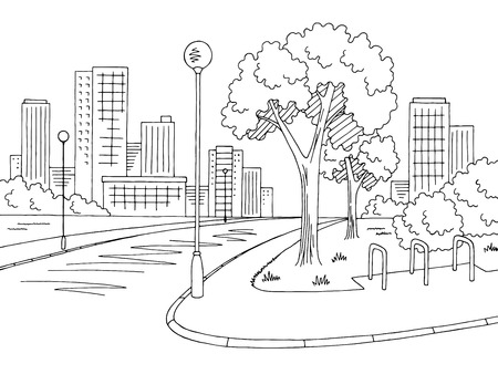Street road graphic black and white city landscape sketch illustration vector 免版税图像 - 95642240