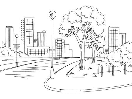 Ulica droga graficzny czarno-biały krajobraz miasta szkic wektor