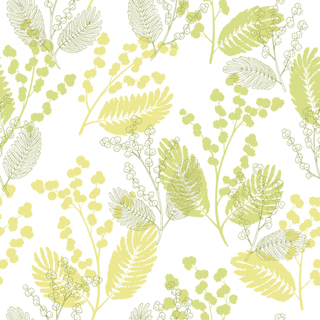 Mimosa graphic color sketch seamless pattern illustration vector Illustration