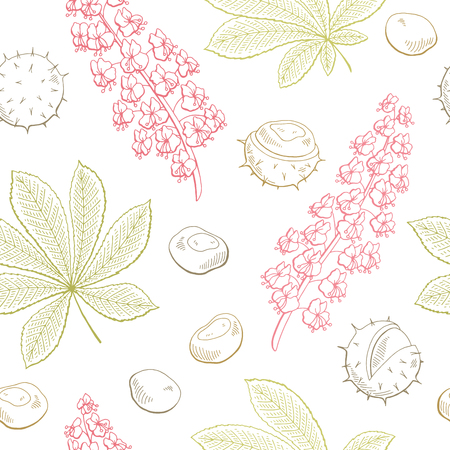 Chestnut flower leaf graphic seamless pattern illustration vector