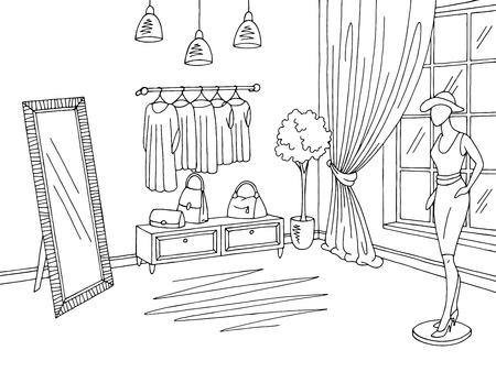 Shop interior graphic black white boutique store sketch illustration vector Vettoriali