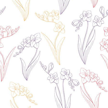 Freesia flower graphic color seamless pattern sketch illustration vector