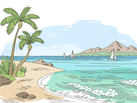 Sea bay coast graphic color sketch seascape illustration vector