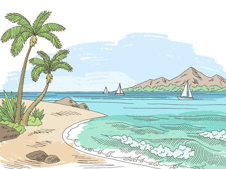 Sea bay coast graphic color sketch seascape illustration vector