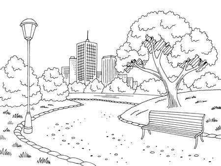 Park graphic landscape sketch illustration vector Vettoriali