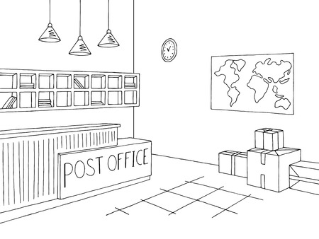 Post office graphic interior black white sketch illustration vector