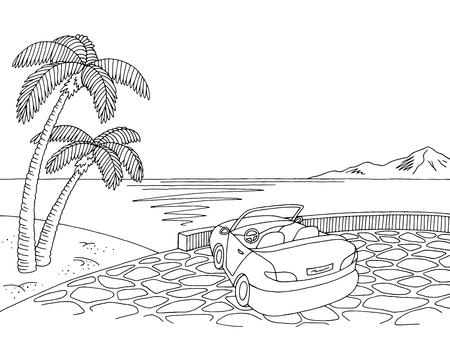 Sea coast cabriolet graphic black white landscape sketch illustration vector