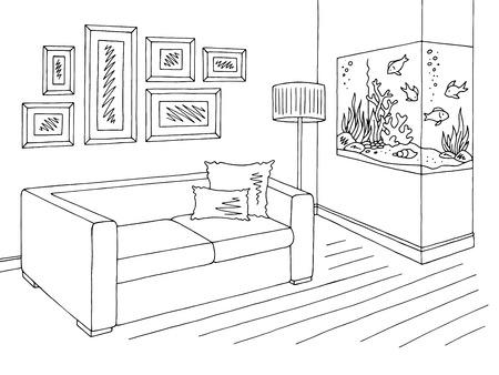Living room interior sketch design illustration with aquarium. Illustration
