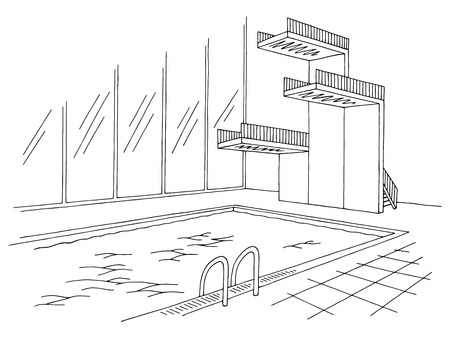 Swimming Pool Tower Graphic Black White Interior Sketch Illustration Royalty Free Cliparts Vectors And Stock Image 98419367