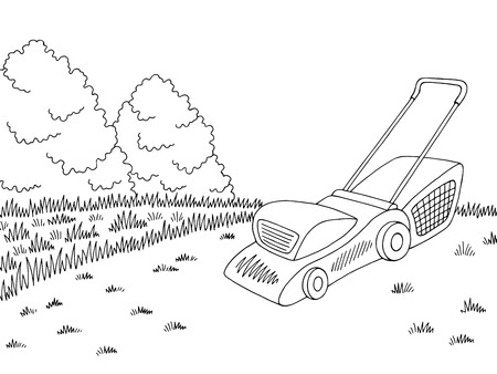 Lawn mower garden graphic black white sketch illustration vector