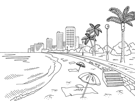 Landscape sketch of a city beach in black and white city. Stock Illustratie