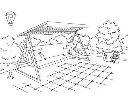 Garden swing sketch design 일러스트