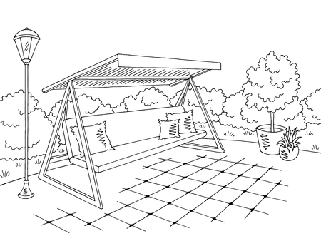 Garden swing sketch design 矢量图像