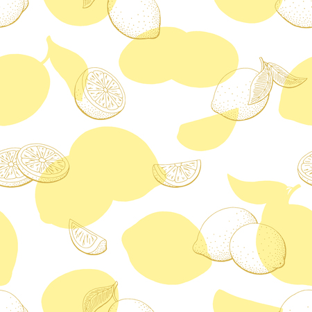 Lemon fruit graphic yellow color seamless pattern background sketch illustration vector