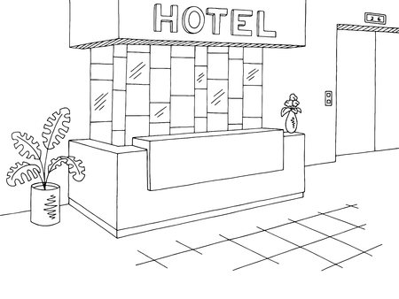 Hotel reception lobby interior graphic black white sketch illustration vector