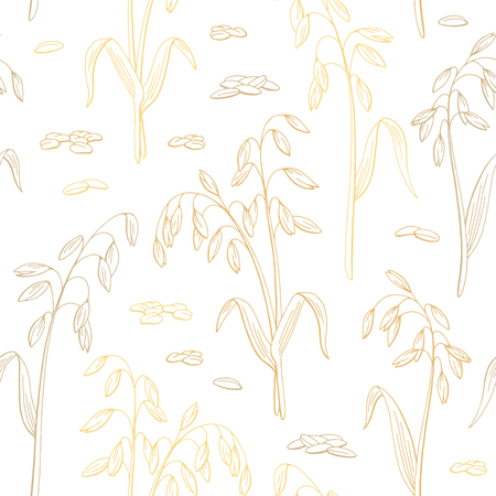 Oat plant graphic color seamless pattern background sketch illustration vector