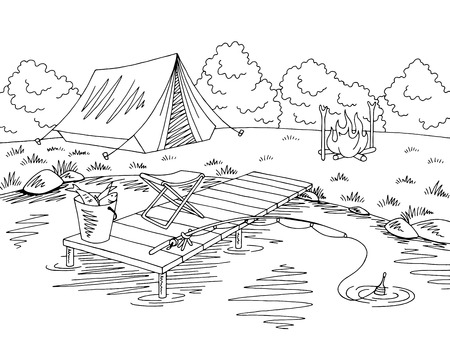 Fishing camping graphic black and white sketch illustration vector Stock Illustratie