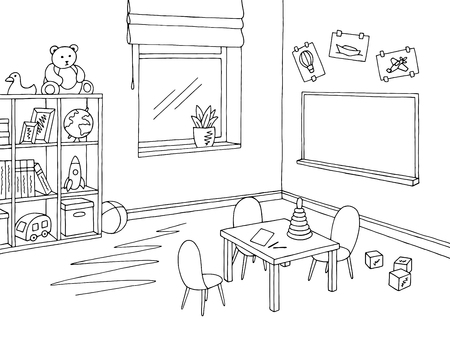Preschool classroom graphic black and white interior sketch illustration vector