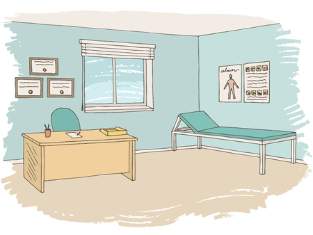 Doctor office graphic color sketch interior illustration vector
