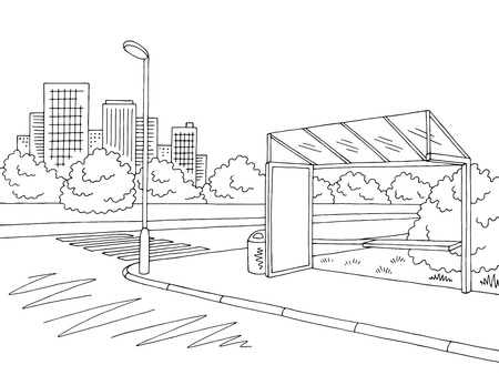 Bus stop graphic black and white city street sketch illustration vector Çizim