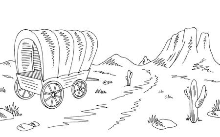 Prairie huifkar grafisch zwart witte Amerikaanse woestijn sketch landschap illustratie vector Vector Illustratie