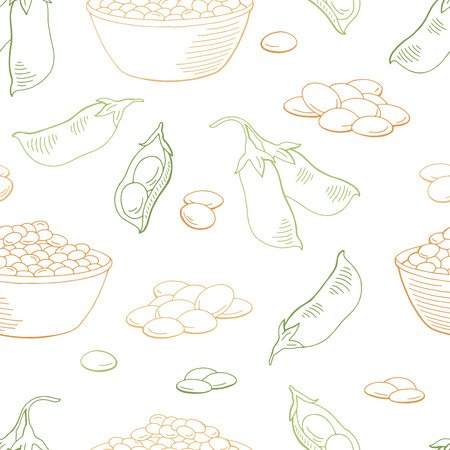Lentil vegetable graphic color seamless pattern background sketch illustration vector Ilustração