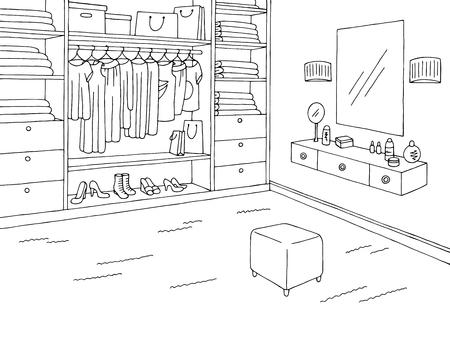 Wardrobe Room Graphic Black White Home Interior Sketch Illustration