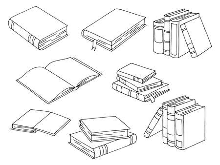 Books set graphic black and white isolated sketch illustration vector