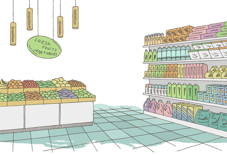 Grocery store shop interior color graphic sketch illustration vector Illusztráció