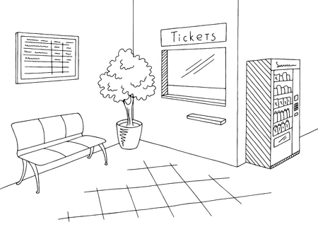 Railway station graphic black white ticket office interior sketch illustration vector