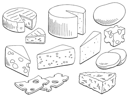 Cheese set graphic black and white isolated food sketch illustration vector