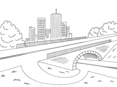 Road bridge graphic black and white city sketch illustration vector