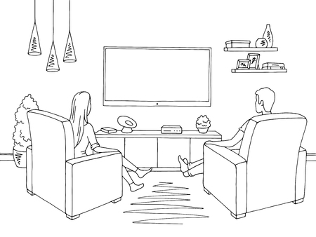 Living room. Woman and man sketch siting watching television illustration vector Иллюстрация