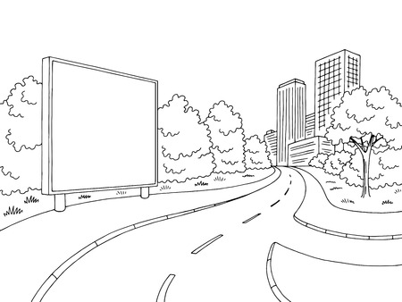 Street road graphic black sketch illustration vector