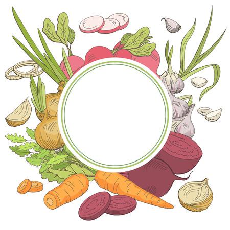 Vegetable graphic color pattern background sketch illustration vector