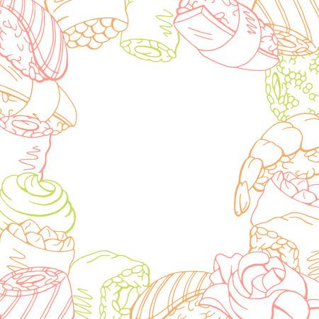 Sushi food graphic color pattern background sketch illustration vector