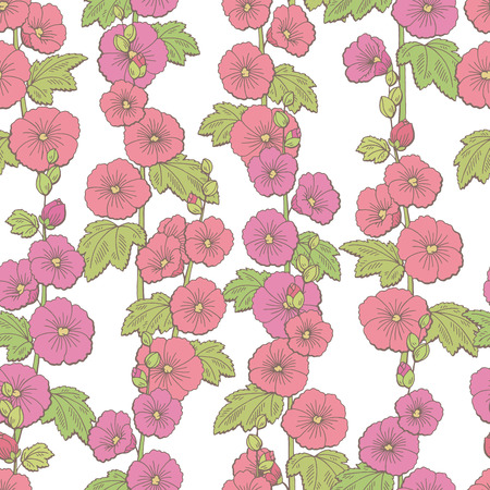 Mallow flower graphic color sketch seamless pattern background illustration vector Ilustracja