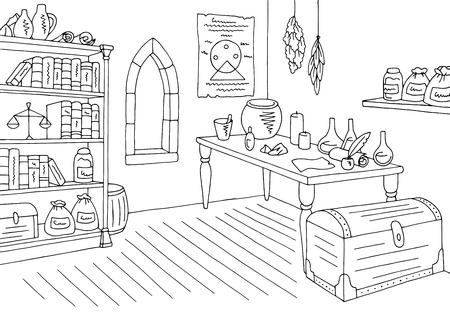 Alchemical laboratory graphic black and white interior sketch illustration vector Vetores