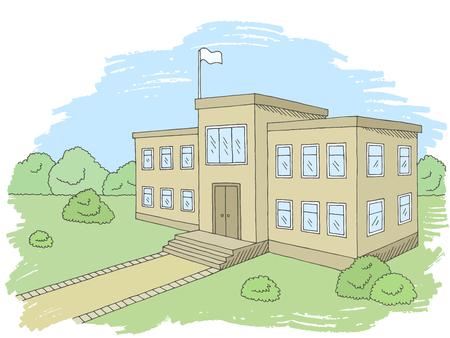 School building graphic color exterior sketch illustration vector