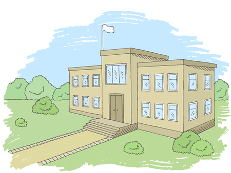 School building graphic color exterior sketch illustration vector