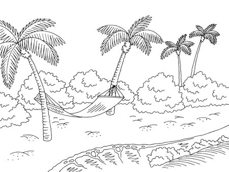 Sea coast hammock graphic black white landscape sketch illustration vector
