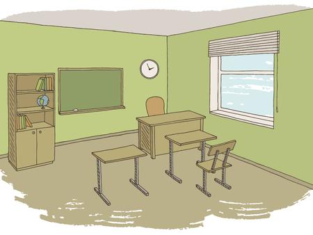 Classroom graphic color interior sketch illustration vector Vector Illustration