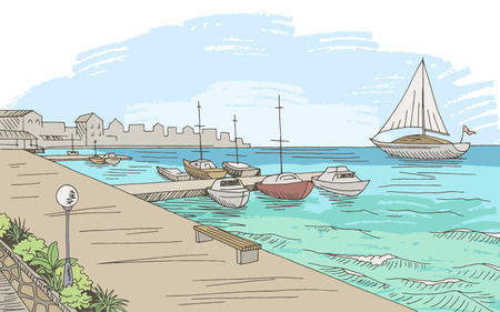 Seafront pier graphic yacht color seascape sketch illustration vector Vettoriali